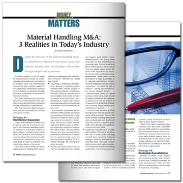 MHEDA Journal - Material Handling M&A